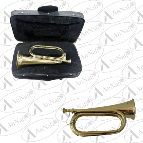 Tunable Bugle Shinning Brass School Army Parade Bb Bugle with case Fast Shipping