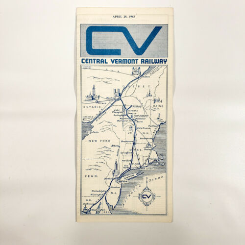 1963 Central Vermont Railway Timetable Time Table Travel Brochure Map VT