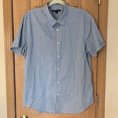 - John Varvatos Star USA Mens Size Large Blue White Button Shirt EUC