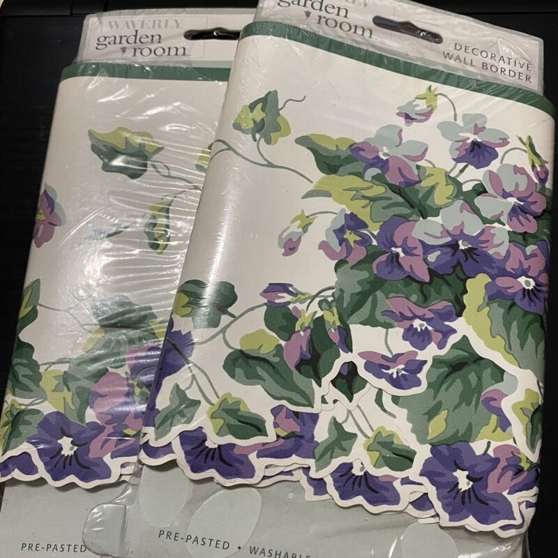 "Waverly Garden Room ""Sweet Violets"" Pre-Pasted Wall Border Lot Of 2 Brand New"