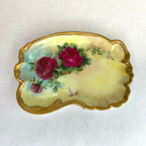 ANTIQUE T&V LIMOGES FRANCE 1902 dated Hand Painted Trinket Dish Plate Roses