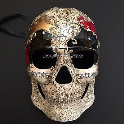 Hand-Painted Venetian Skull Black Eye Accent Halloween Mask  - Eye Paint Halloween