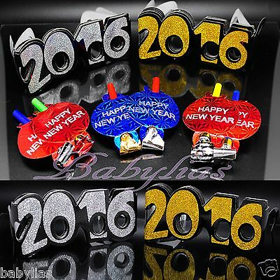 New Years Eve Party Supplies Glasses Blowouts Noise Makers Decor - 24 PIECE - New Years Party Decor