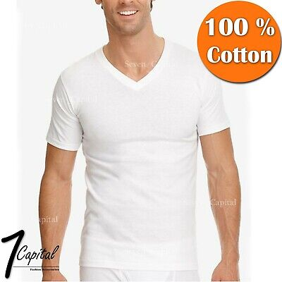 3-12 PACK Mens 100% Cotton Tagless Crew V-Neck Undershirt White T Shirt Tee S-XL 3 Pack Cotton V-neck Tee