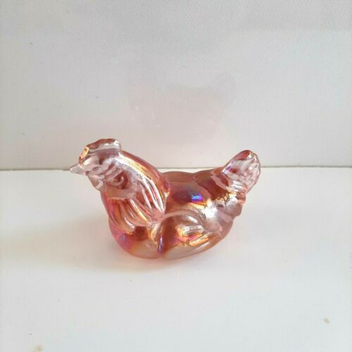 Beautiful Small Pink Iridescent Carnival Glass Style Chicken Hen