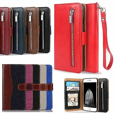 Wallet Case Cover (Luxury Leather Card Wallet Flip Case Cover for Apple iPhone 7 6S 6)