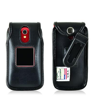 Phone Case Removable Belt Clip - Greatcall Jitterbug Flip Phone Black LEATHER Belt Fitted Case Remove Belt Clip