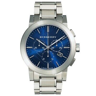 New Mens Burberry chronograph city watch blue dial and Swiss Movement BU9363