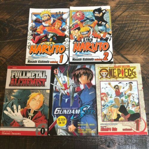 Naruto 1 2 Gundam Seed 1 Full Metal Alchemist East Blue Lot of 5 Comic Books