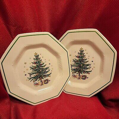 """2x VTG 11"""" Ceramic Porcelain CHRISTMASTIME Appetizer sml PLATES nikko christmas"""