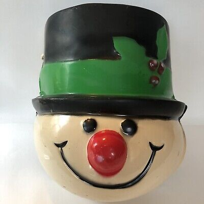 Vintage Snowman Head Lamp Post Cover Christmas Holly Light Plastic