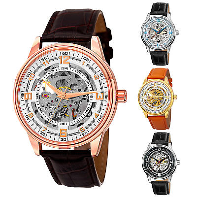 Akribos Xxiv Mens Automatic Watch - Men's Akribos XXIV AK410 'Saturnos' Skeleton Automatic Alligator Leather Watch