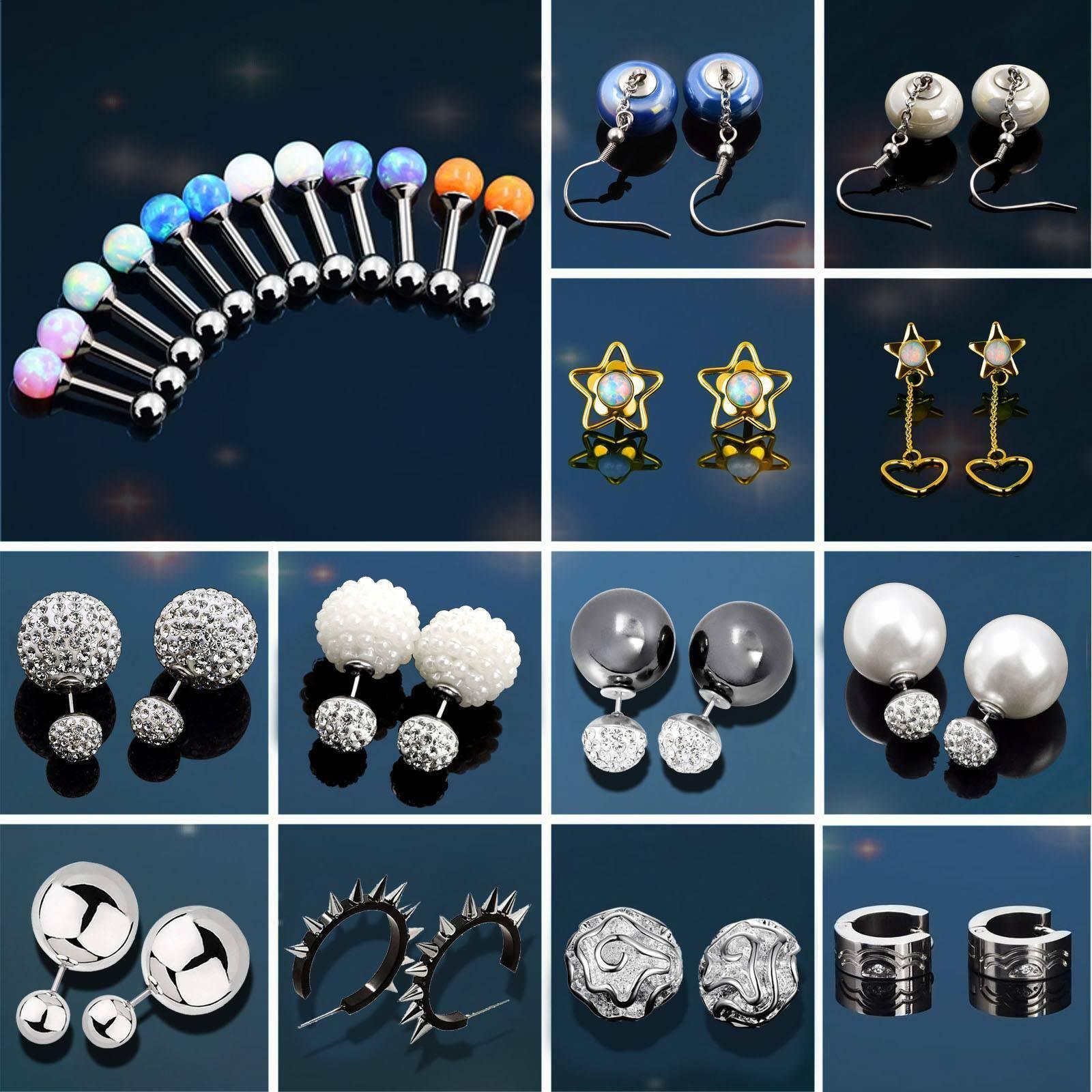 Fashion Women Surgical Steel Double Ear Stud Dangle Earrings