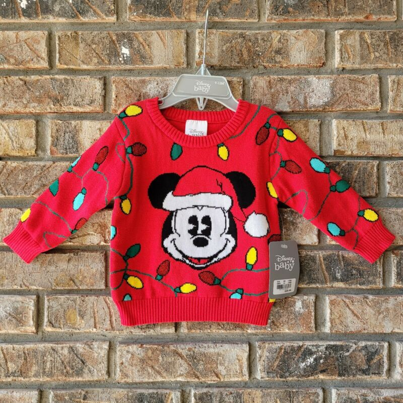 Disney Store Baby Mickey Mouse Christmas Lights Sweater Sz 9-12 Months Infant