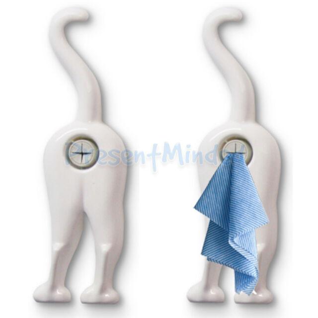 Cloth Cat Towel Holder White Cat Bum Novelty Kitchen Tea Towel Holder Gift Idea