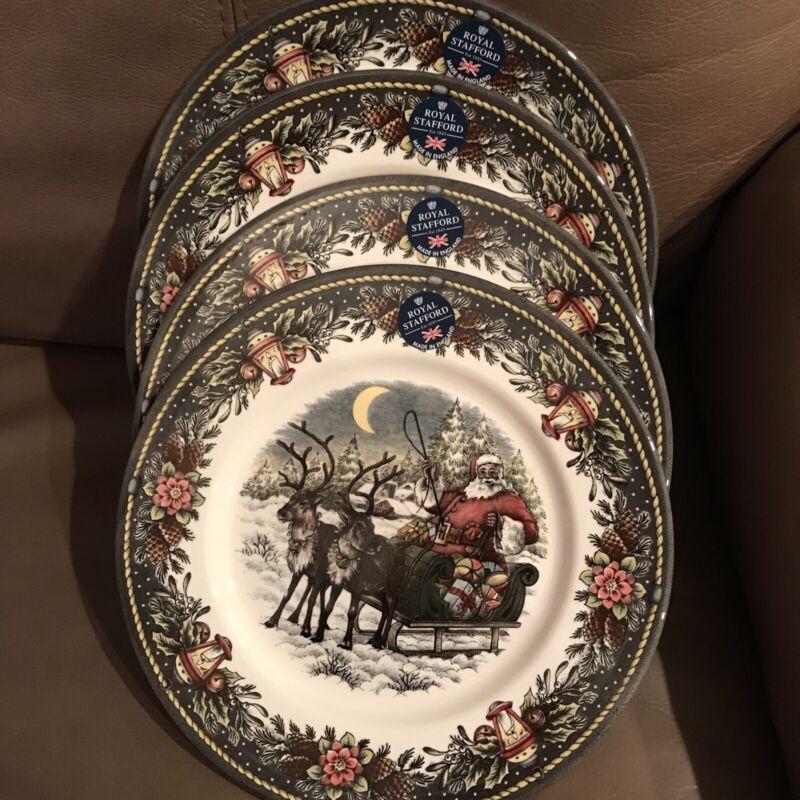 ROYAL STAFFORD 4 CHRISTMAS SANTA SLED REINDEER DINNER PLATES DISHES