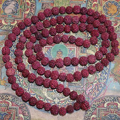 MALA-RUDRAKSHA-SHIVA-Gebetskette OM 180 cm/ 14 mm Indien Goa Hippie