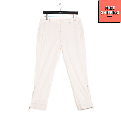 RRP €170 DONDUP Trousers Size 40 Beige Zipped Cuffs Cropped Made in Italy