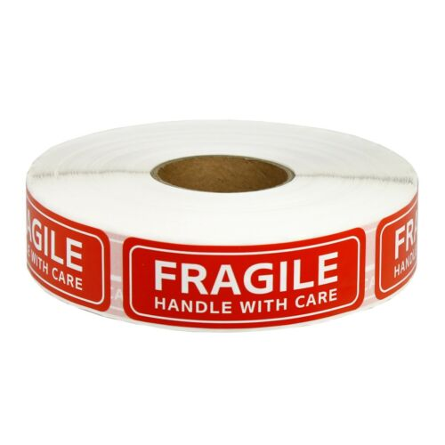 """1 Roll 1000 PCS 1""""x3"""" FRAGILE HANDLE WITH CARE Stickers Labels Easy Peel & Apply"""