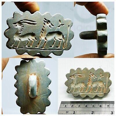 Bactrian Ancient intaglio 2 animals stone stamp       #135