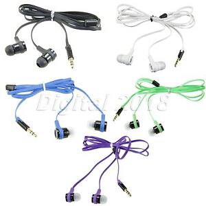 Universal-3-5mm-In-Ear-Earphone-Headphone-Earbud-Headset-Flat-Cable