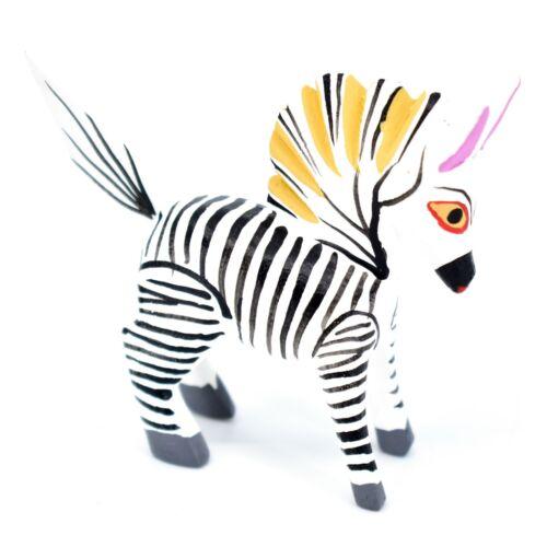 Handmade Alebrijes Oaxacan Copal Wood Carving Folk Mini Art Zebra Horse Figurine
