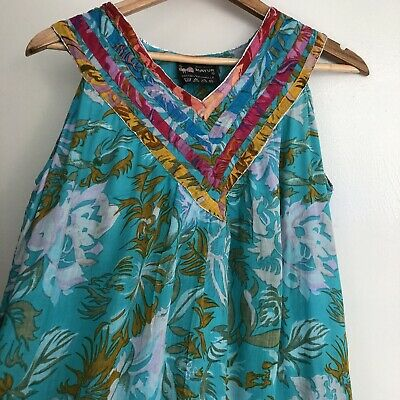 Vintage MAYUR Peacock Indian Fine Cotton Floral Dress L