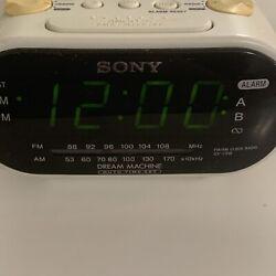 Vintage White Sony Dream Machine ICF-C318 FM/AM Dual Alarm Clock Radio WORKS