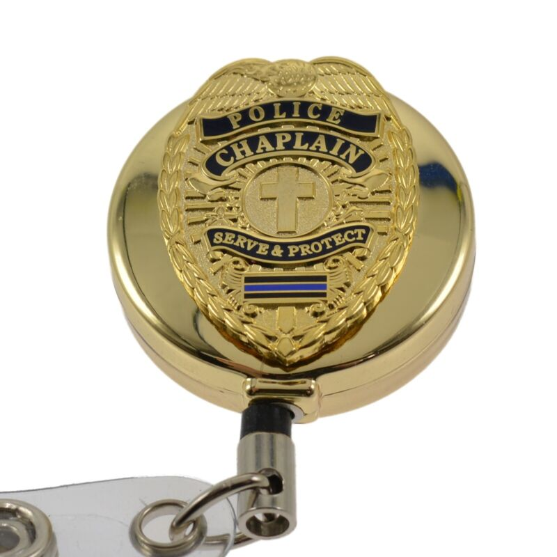 Police Chaplain Blue Line Gold Retractable Badge Reel Security ID Card Holder