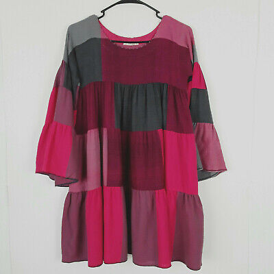 Chota Pero Girls Wool Red Grey Pink Plaid Bell Sleeves Patched Dress Size 10-11