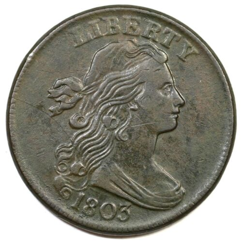 1803 S-258 Sm Date, Lg Frac Draped Bust Large Cent Coin 1c