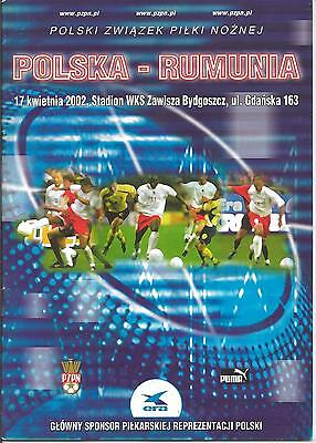 Poland vs Romania official match program programme Friendly 2002 mint