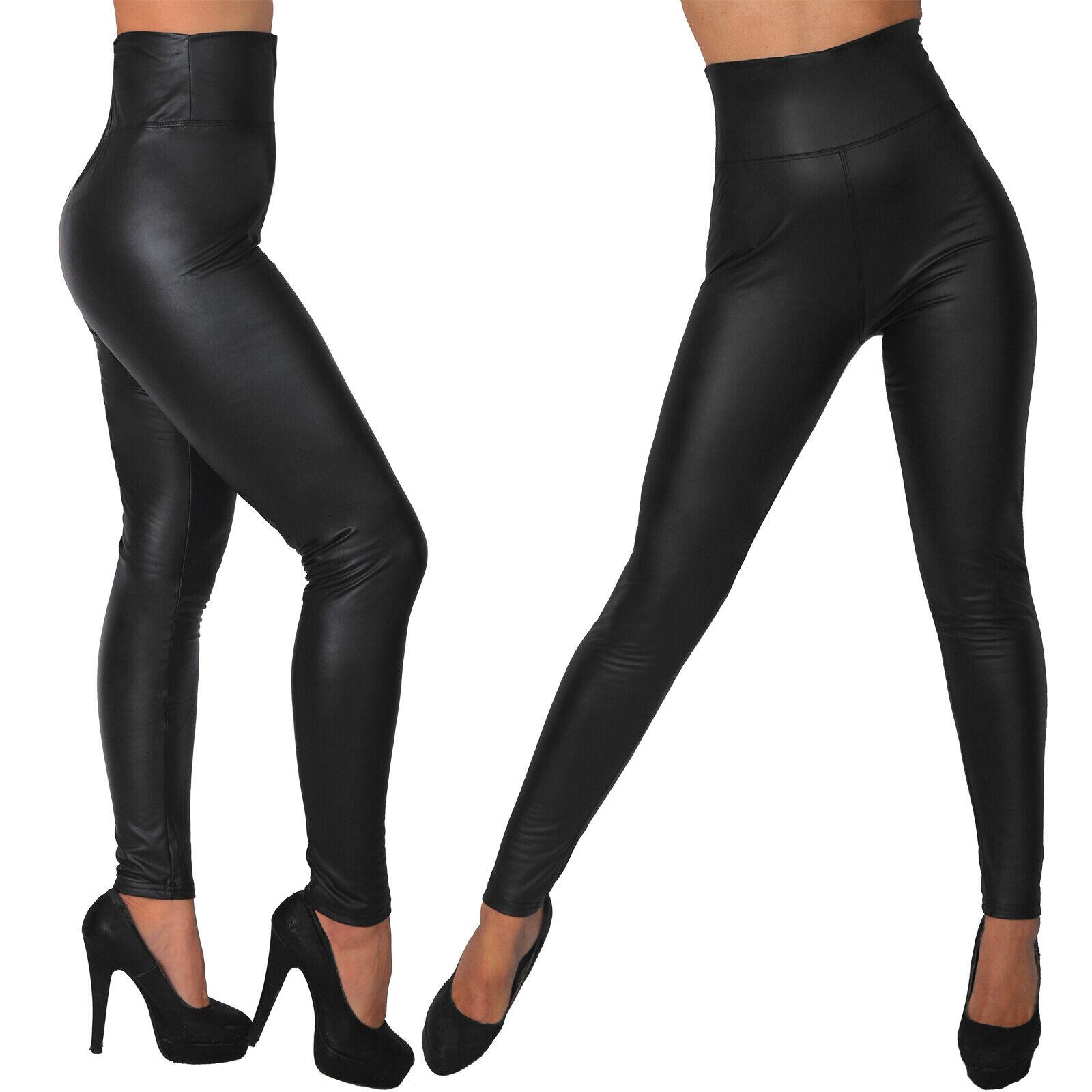 Sexy Leggings High Waist Lederimitat Hose Thermo Jeggings Treggings Jeans