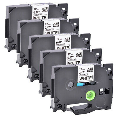 5 Pack Black On White Label Tape P-touch Compatible For Brother Tz 231 Tze 231