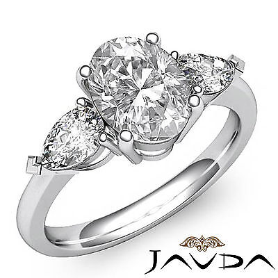 3 Stone Basket Style Prong Set Oval Cut Diamond Engagement Ring GIA H VS2 1.5Ct