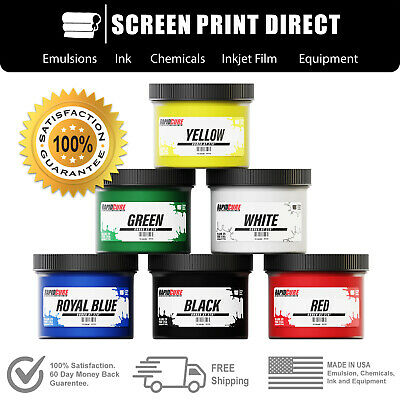 Screen Printing Plastisol Ink Kit - Low Temp Cure 270F - 6 Colors - 8oz