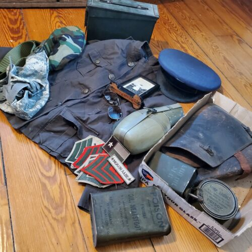 WW2 Army Lot - Military Ammo can, jacket, Machine gun oil, airforce hat, leather