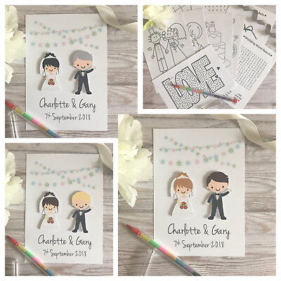 Personalised Children Wedding Activity Pack Bag Book Gift Favour A6 Bride/Groom
