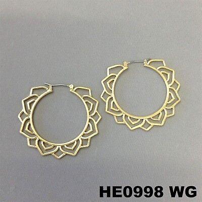 (Bohemian Flower Style Outline Gold Finish Round Hoop Lever Earrings HE0998 WG)