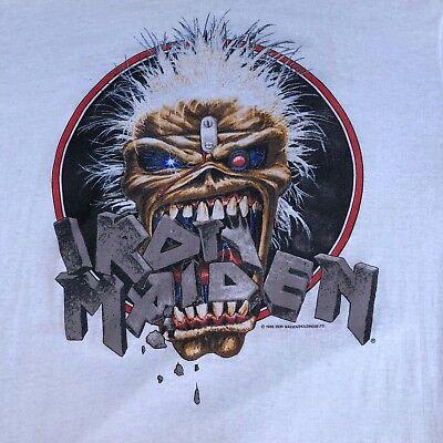 RARE VTG Iron Maiden Seventh Son Tour Metal T Shirt 80s 50/50 XL Original