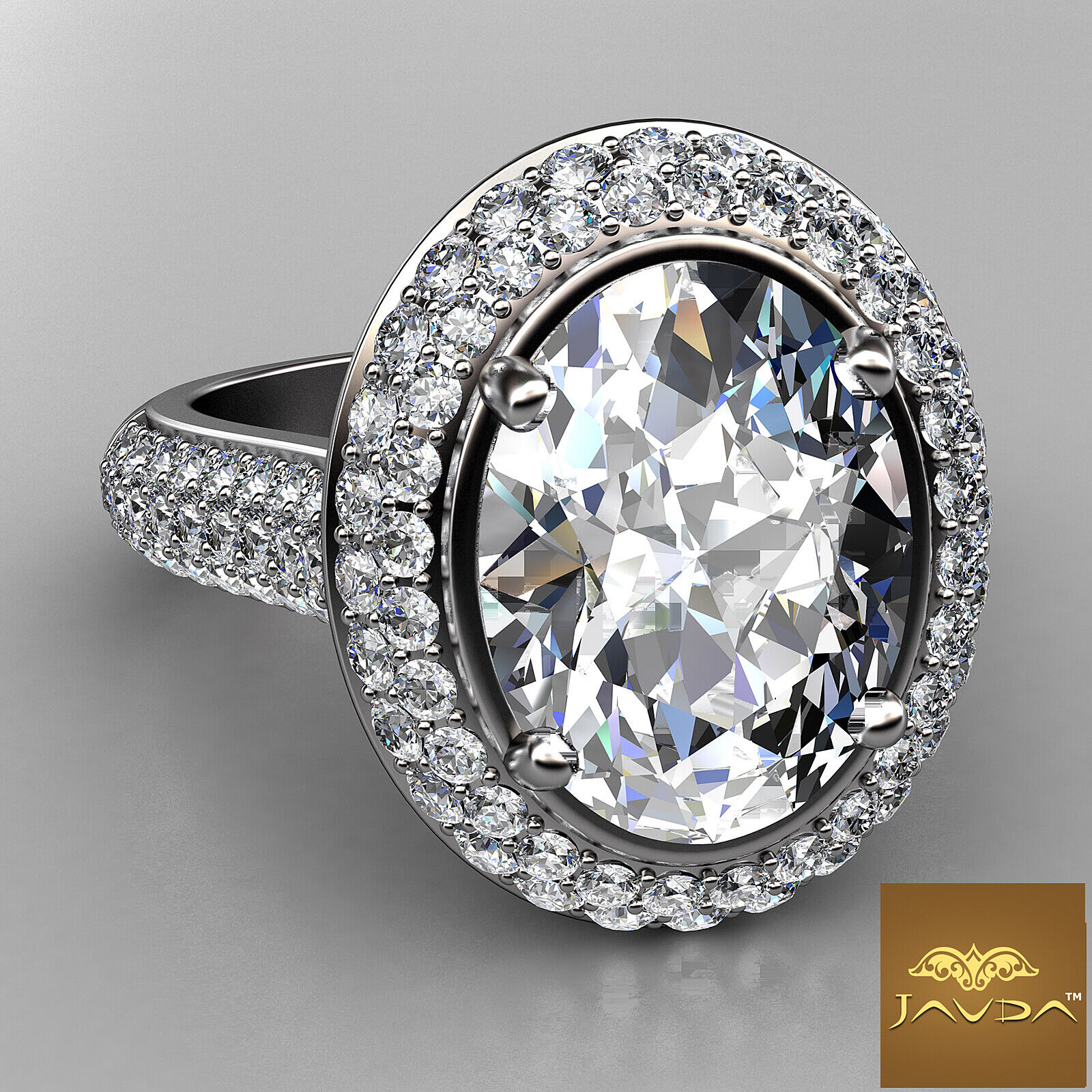 3 Row Shank Double Halo Oval Diamond Engagement Prong Setting Ring GIA F VS1 3Ct 1