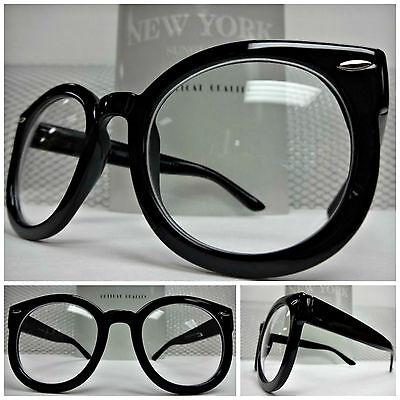 Herren Damen Übergröße Vintage Rund Klar Gläser Nerd Smart Brillen Black Rahmen