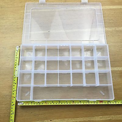 Clear plastic storage organiser compartment craft beads for Craft storage boxes with compartments