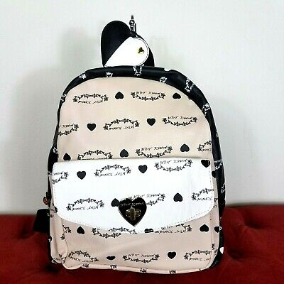 Betsey Johnson Backpack White Pink Black LOVE Heart Floral Pattern XOXO Charm ()
