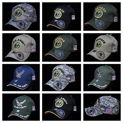 USA Air Force Army Hat Military U.S. Flag Hats Baseball Cap Veteran Retired Caps