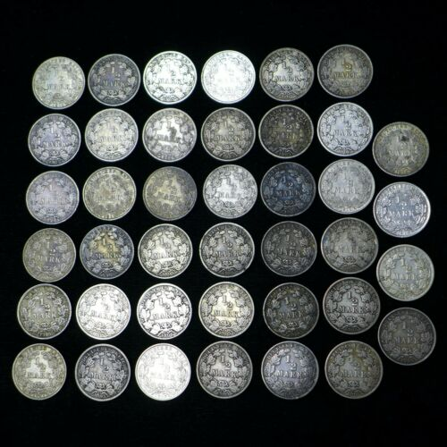 LOT OF (40) GERMAN 1/2 MARK SILVER COINS 1905 - 1919
