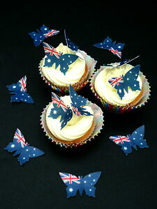 24 SINGLE AUSTRALIAN AUSSIE OZ FLAG BUTTERFLIES EDIBLE RICE WAFER PAPER TOPPERS