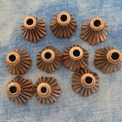 - Antique Copper Alloy Metal Bell Flower Bead Caps 10 Pieces  9.3mm #0997