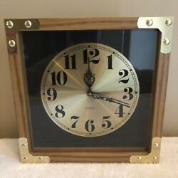 Vintage Quartz Wall Hanging World Clock 11x 11 Wood / Brass Made in USA