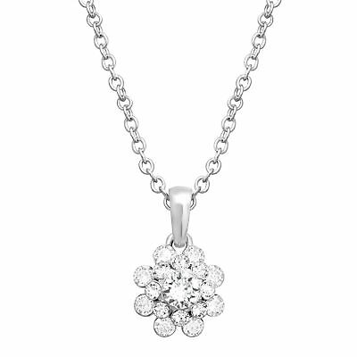Crystaluxe Swarovski Crystals Flower Pendant in Sterling Silver-Plated Brass
